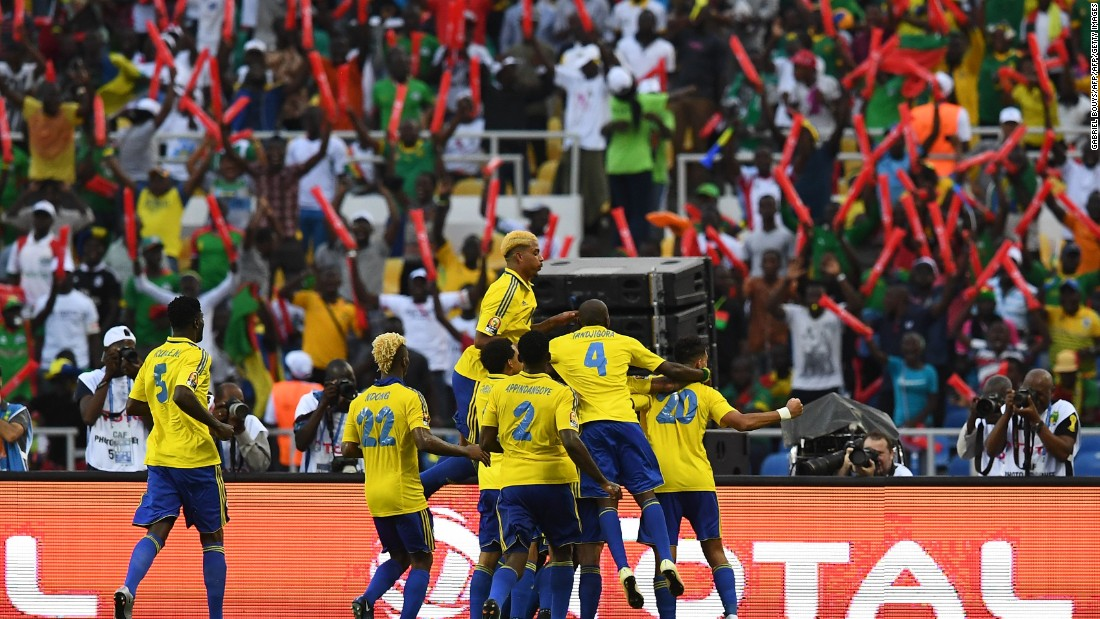 Gabon's players celebrate opening the scoring.