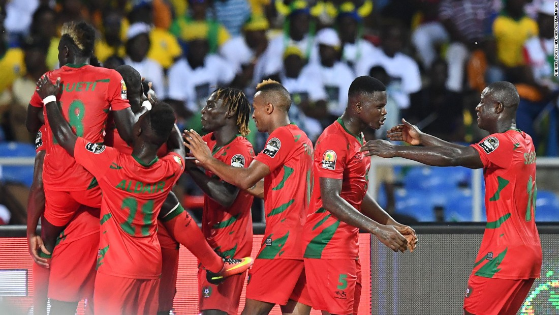 Guinea-Bissau's players celebrate after equalizing during the 2017 Africa Cup of Nations Group A match against Gabon.