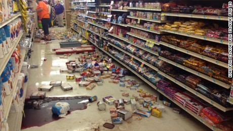 Damage at White's Foodliner grocery store following a record setting earthquake in Pawnee, Oklahoma, last September