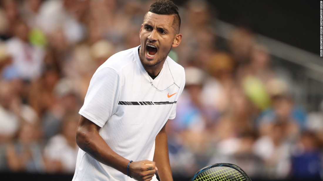 "Elsewhere in the men's competition, home favorite Nick Kyrgios -- who had a <a href=""http://edition.cnn.com/2016/10/17/tennis/nick-kyrgios-suspension-atp/"">tumultuous 2016</a> -- kick-started his first grand slam of the year with a comfortable 6-1, 6-2, 6-2 victory over Gastao Elias."