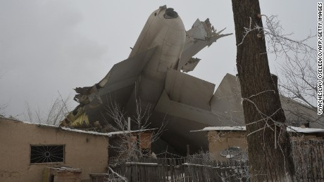The wreckage of a Turkish cargo plane is seen after it crashed in a village outside Bishkek.