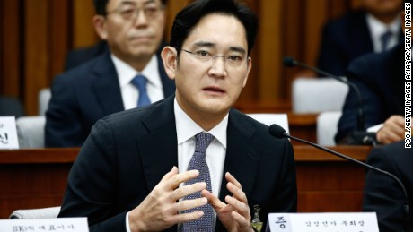 SEOUL, SOUTH KOREA - DECEMBER 06:  Lee Jae-Yong, vice chairman of Samsung answers questions during a parliamentary hearing of the probe in Choi Soon-sil gate at the National Assembly on December 6, 2016 in Seoul, South Korea. South Korea started the parliament hearing with leaders of nine South Korean conglomerates including Samsung, Hyundai, Lotte over the tens of millions of dollars given to foundations controlled by Ms Park's friend Choi Soon-sil, the woman at the center of the scandal.  (Photo by Jeon Heon-Kyun-Pool/Getty Images)