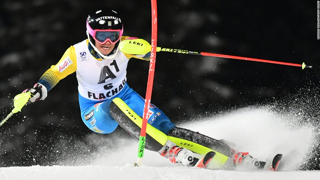 Frida Hansdotter of Sweden competes during the first run of the women's world cup slalom in Flachau, Austria, on January 10. Hansdotter went on to win the competition.
