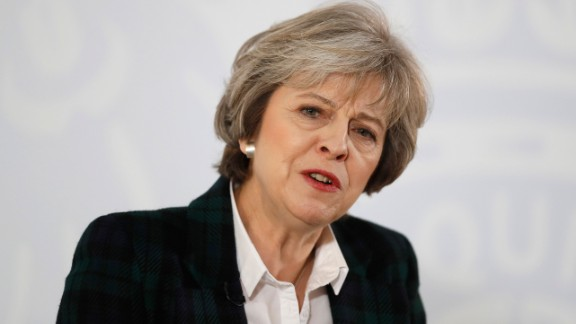 British Prime Minister Theresa May delivers her keynote speech on Brexit at Lancaster House on January 17, 2017 in London, England.