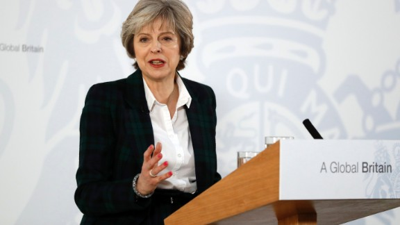 Britain's Prime Minister Theresa May speaks January 17 about leaving the European Union.