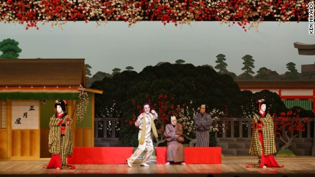An actor dressed as Japanese comedian Piko Taro makes an appearance in the Kabuki play 'Shiranui Monogatari.'