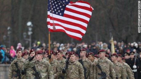 VILNIUS, LITHUANIA - NOVEMBER 23:  Soldiers of the U.S. 173rd Airborne Brigade participate in a parade in the city center during the Iron Sword multinational military exercises on November 23, 2016 in Vilnius, Lithuania. Approximately 4,000 soldiers from NATO countries, including all three Baltic states as well as the USA, are participating in two-week exercises. U.S. President-elect Donald Trump has suggested in past comments that he will review the U.S. commitment to defend NATO member states. The Baltic states, on the eastern geographic edge of the NATO alliance and close to Russia, see themselves at risk. They are concerned that Trump will not take the threat of potential Russian intervention in their countries seriously.  (Photo by Sean Gallup/Getty Images)