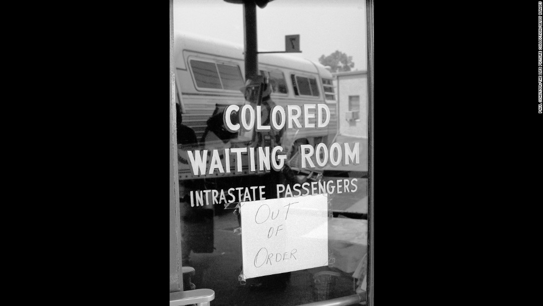 In addition to segregation on buses and trains, there were also segregated waiting rooms at transit stations.