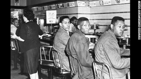 Four African-American students participate in a sit-in at a F. W. Woolworth's lunch counter reserved for white customers in Greensboro, North Carolina, on February 1, 1960.
