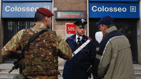 A man ask officers for information after the Colosseo subway station was closed following three earthquakes which hit central Italy in the space of an hour, shaking the same region that suffered a series of deadly quakes last year, in Rome, Wednesday, Jan. 18, 2017. There were no immediate reports of casualties but tremors were felt as far away as Rome, where the subway was closed as a precaution and parents were asked to pick up their children early from schools.