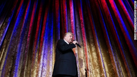 WASHINGTON, DC - JANUARY 17:  President-elect Donald Trump delivers remarks at the Chairman's Global Dinner, at the Andrew W. Mellon Auditorium in on January 17, 2017 in Washington, DC. The invitation-only black-tie event offered an opportunity for Trump to introduce himself and members of his cabinet to foreign diplomats.  (Photo by Kevin Dietsch-Pool/Getty Images)