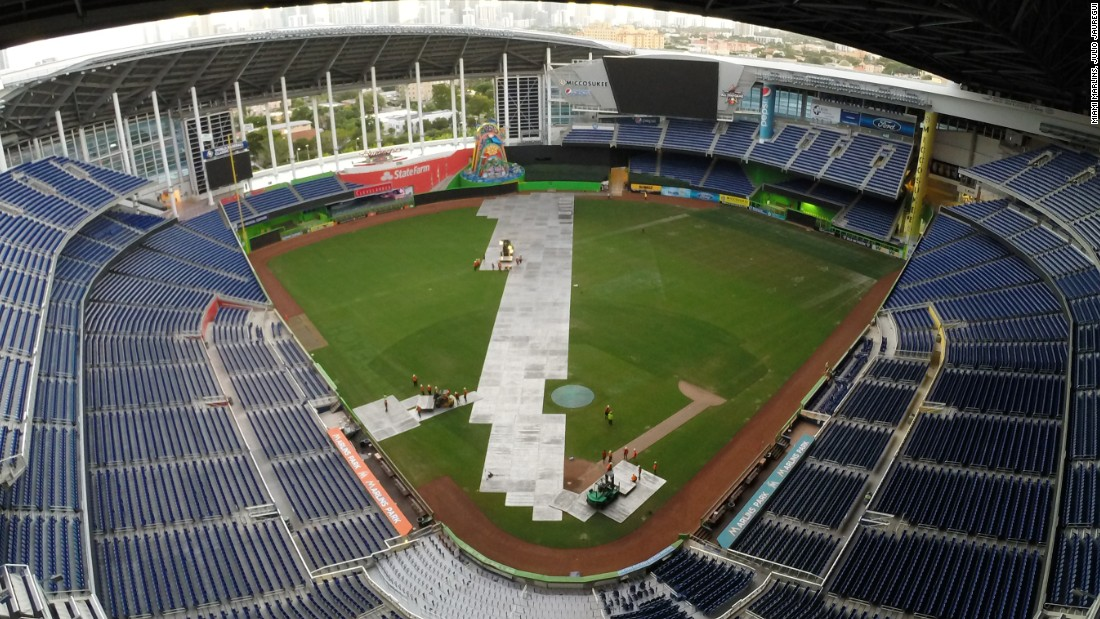 "Florida's Marlins Park, home to MLB team Miami Marlins, is taking on the challenge as it hosts motorsport's Race of Champions (ROC) on January 22-23.<br /><br />The first job is to cover the baseball diamond to protect the field of play. ""875 aluminum panels protect the substructure of the field,"" explains ROC president Fredrik Johnsson."