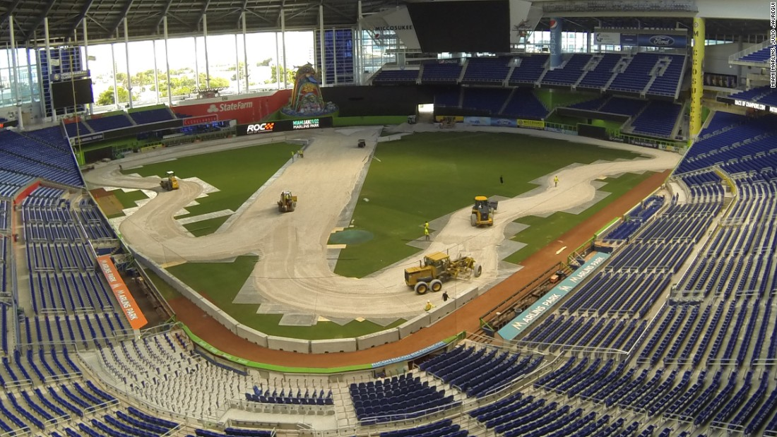 "Next, the diggers move in to begin constructing the bespoke track which loops around the outfield. ""It will have taken approximately 100-120 hours to build the complete layout,"" Johnsson says."