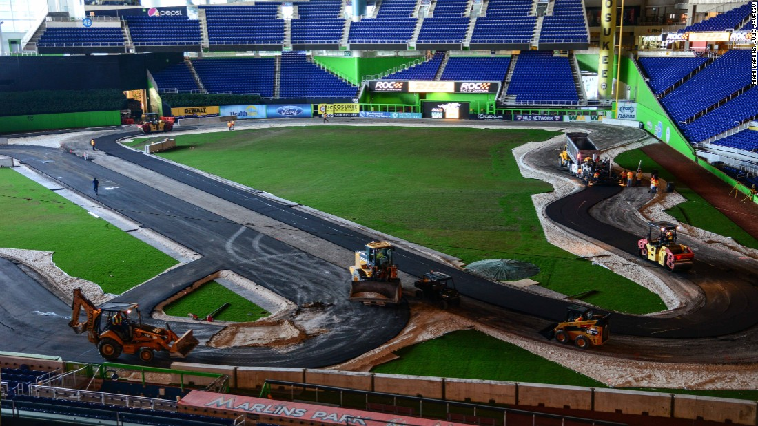 "Just days before the event the final touches are being made to the Race of Champions circuit. ""This is a very unique event because of the impact that it has on the field,"" explains Claude Delorme, the Miami Marlins executive vice president of operations and events."