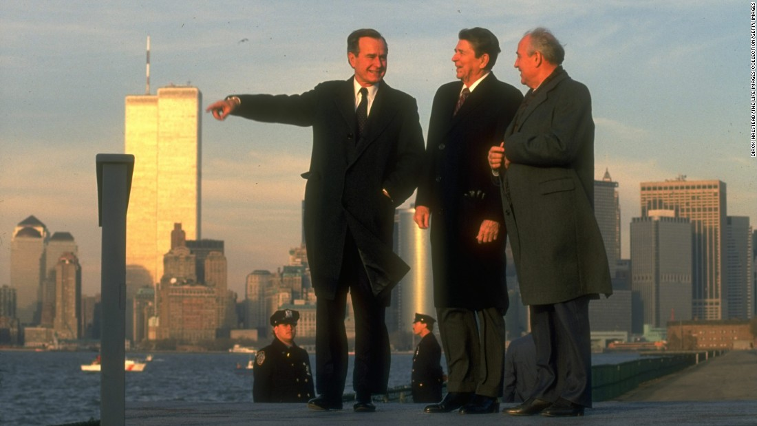 Soviet leader Mikhail Gorbachev takes in the New York skyline in 1988 with Reagan and Bush.
