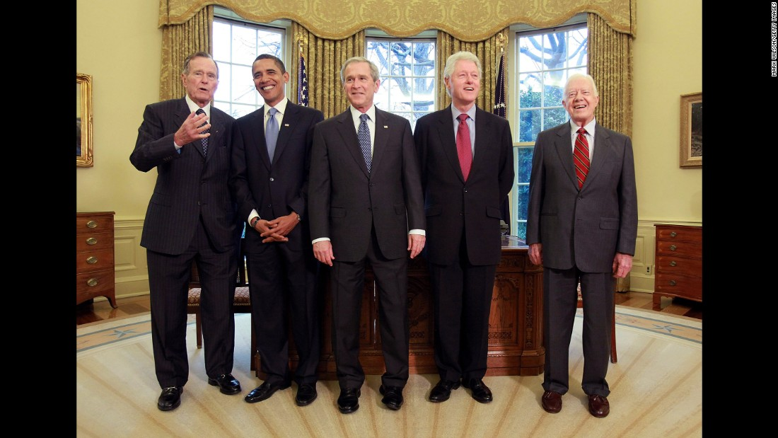President George W. Bush meets in 2009 in the Oval Office with President-elect Barack Obama, along with former Presidents Bill Clinton, Jimmy Carter and George H.W. Bush