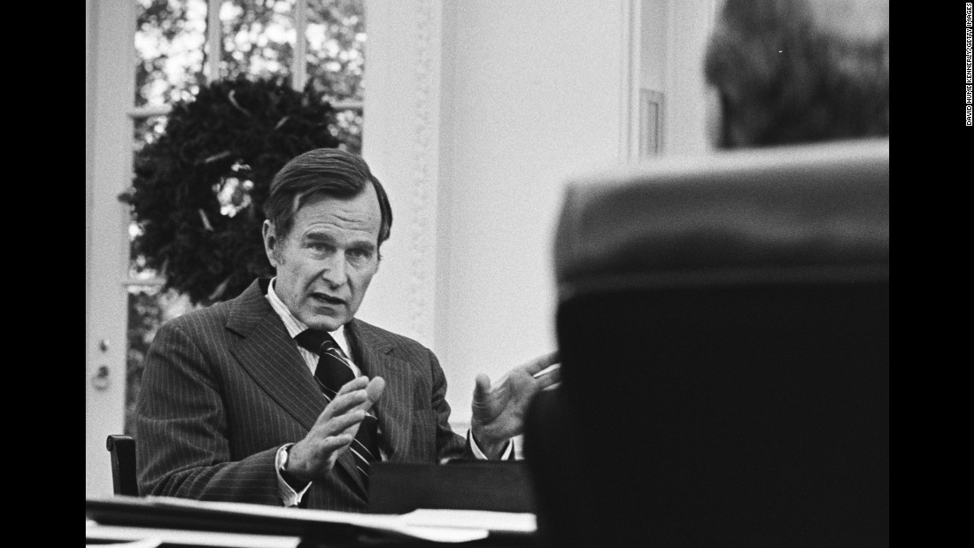 Ford meets with Bush in December 1975 in the Oval Office to talk to about Bush taking over as director of the CIA.