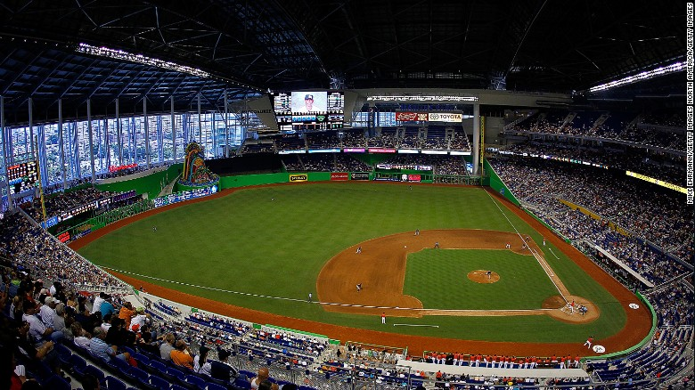 How do you turn a baseball stadium into a racetrack cnn the miami marlins stadium is playing host to the race of champions exchanging turf for malvernweather Image collections