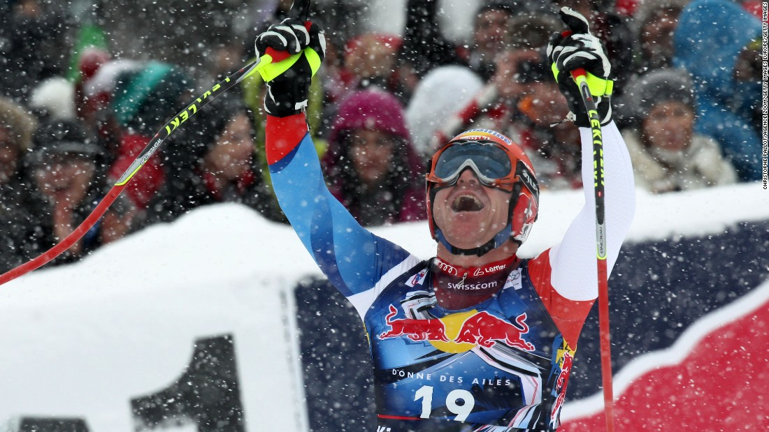"Despite Austria's dominance of the event, Switzerland's Didier Cuche is ""Mr. Kitzbuhel"" with a record five downhill wins, the last at the age of 37 in 2012."