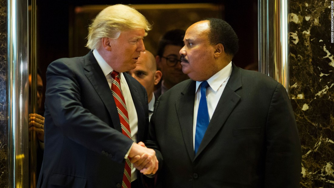 "President-elect Donald Trump shakes hands with Martin Luther King III <a href=""http://www.cnn.com/2017/01/16/politics/donald-trump-martin-luther-king-day/"" target=""_blank"">after they met at Trump Tower</a> in New York on Monday, January 16. Afterward, King said the meeting was ""constructive"" and that the two discussed the importance of voting accessibility. Trump didn't speak to the media about the meeting."