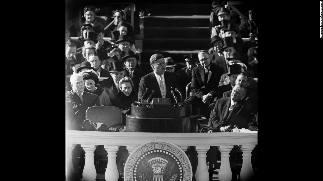 "Kennedy delivers his inaugural address. In it, he spoke what would become one of his most quoted remarks: ""And so, my fellow Americans: Ask not what your country can do for you, ask what you can do for your country."""