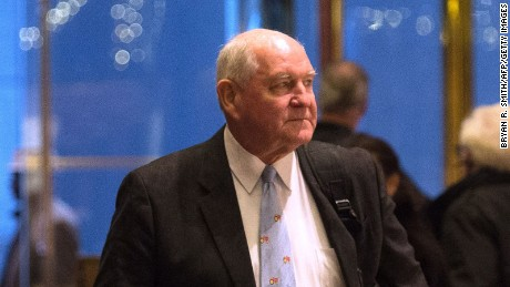 Former Georgia Governor Sonny Perdue arrives in Trump Tower, November 30, 2016 in New York, to meet with US President-elect Donald Trump.