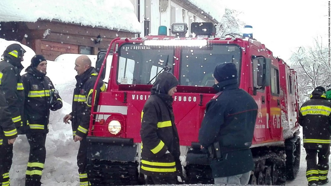 Italian emergency crews operate at the site of the avalanche on January 19. Central Italy was hit by more than 10 earthquakes on Wednesday, January 18, four of them measuring magnitude 5 or above, according to the US Geological Survey.