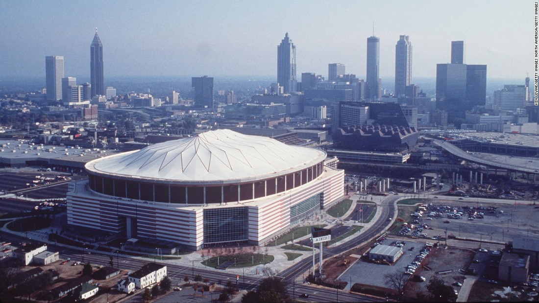 The Georgia Dome, seen here in November 1992, has been the home of the Atlanta Falcons for the last 25 years. Later this year, the building will be demolished, and the Falcons will move into the new Mercedes-Benz Stadium, which is under construction.