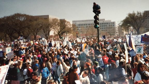 Protesters gather at the 1992 march for women