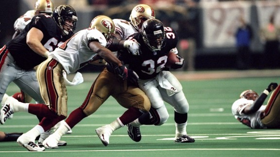 The Atlanta Falcons, led in part by running back Jamal Anderson, defeated the San Francisco 49ers 20-18 in the divisional round of the NFL playoffs in January 1999. The Falcons would go on the road to defeat the Minnesota Vikings and reach Super Bowl XXXIII.