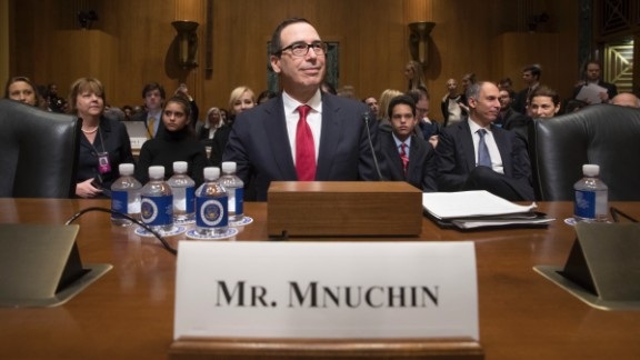Mnuchin arrives for his confirmation hearing in January. Mnuchin, a former Goldman Sachs banker, faced policy questions about taxes, the debt ceiling and banking regulation.