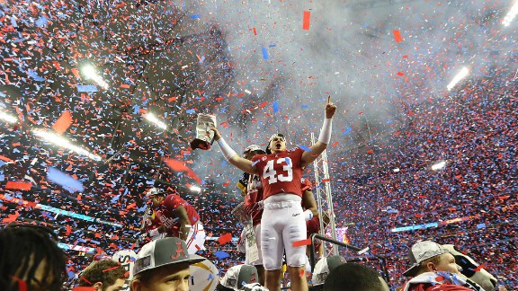 Confetti fills the Georgia Dome as Alabama celebrates a 24-7 win over Washington in the College Football Playoff Peach Bowl semifinal in December.
