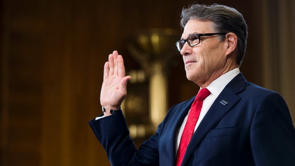 Perry is sworn in before his confirmation hearing in January. During his testimony, Perry cast himself as an advocate for a range of energy sources, noting that he presided over the nation