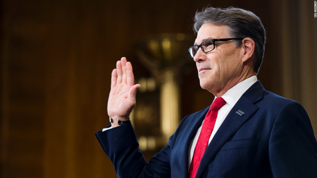 "Perry is sworn in before his confirmation hearing in January. <a href=""http://www.cnn.com/2017/01/19/politics/rick-perry-hearing-energy-department/index.html"" target=""_blank"">During his testimony,</a> Perry cast himself as an advocate for a range of energy sources, noting that he presided over the nation's leading energy-producing state. He also said he regrets once calling for the Energy Department's elimination."