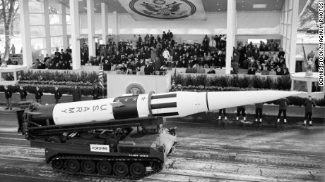 The US Third Armored Cavalry Regiment parades a missile before the Presidential viewing stand.