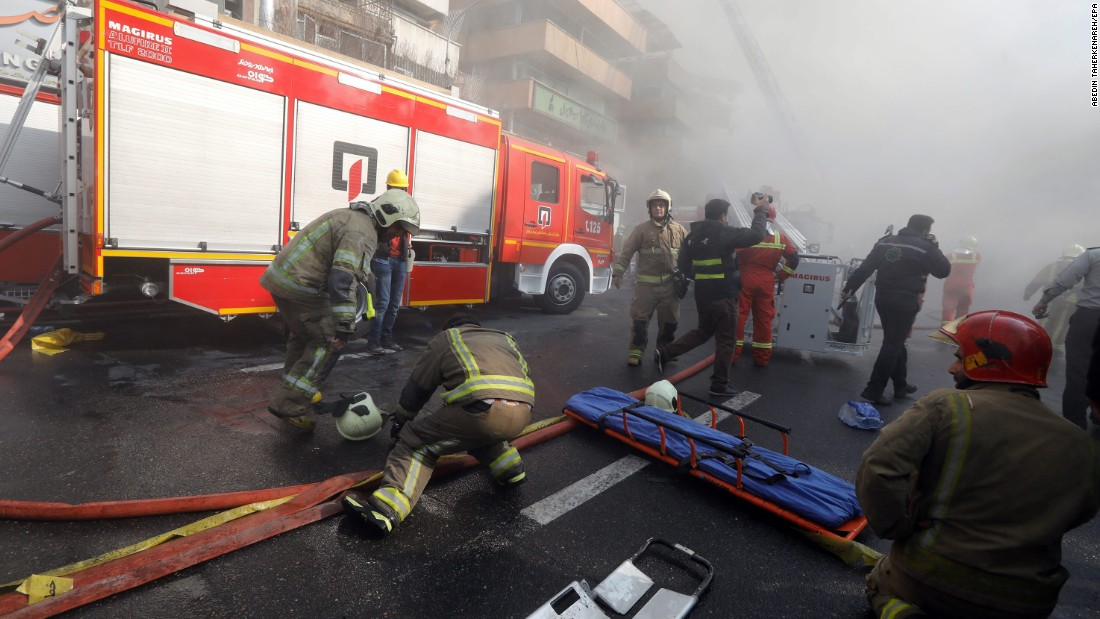 Tehran: 'More than 20 firefighters dead' in Iran building