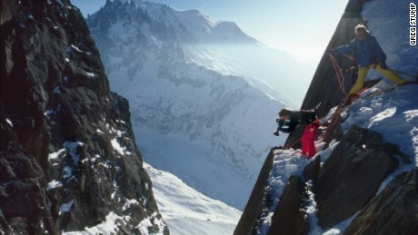 Stump and Murray Ball filming a sequence on the Grands Montets in Chamonix.
