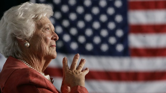 Former first lady Barbara Bush, the matriarch of a Republican political dynasty and a first lady who elevated the cause of literacy, died April 17, 2018, at age 92. Here, she listens as her son, President George W. Bush, addresses an event in Orlando in 2005. She was the second woman in US history to have had a husband and a son elected President. Her husband, George H.W. Bush, was the 41st President of the United States. Her son was the 43rd.