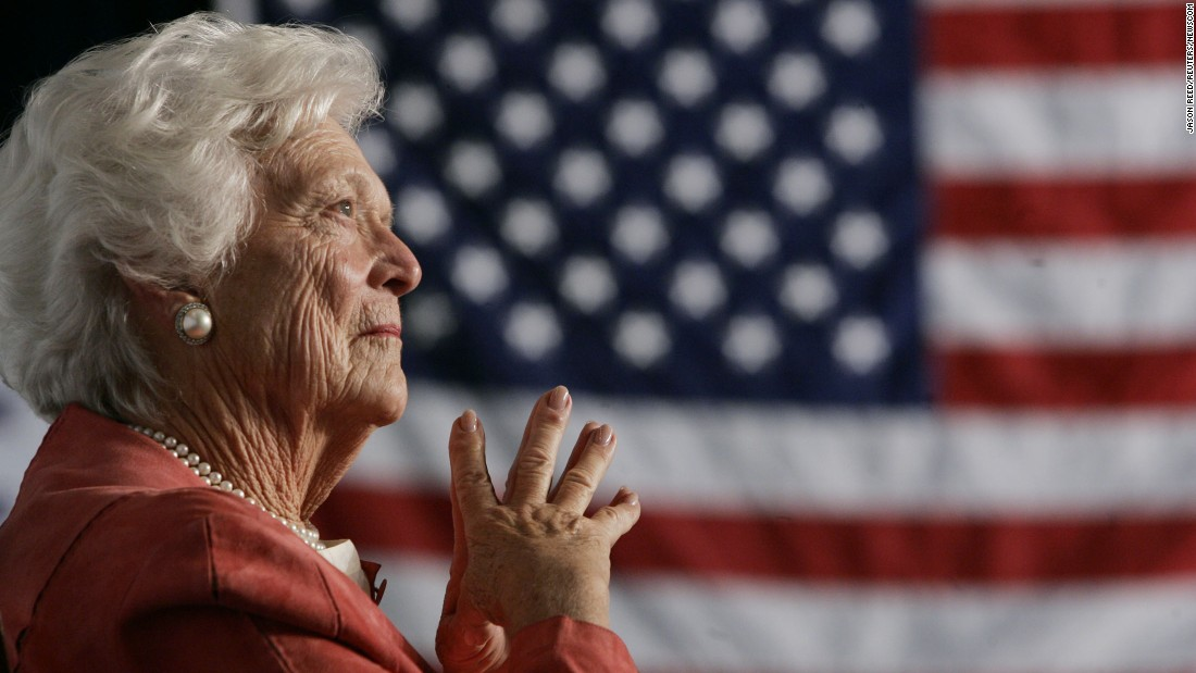 "<a href=""https://www.cnn.com/2018/04/17/politics/barbara-bush-dies/index.html"">Former first lady Barbara Bush</a>, the matriarch of a Republican political dynasty and a first lady who elevated the cause of literacy, died April 17, 2018, at age 92. Here, she listens as her son, President George W. Bush, addresses an event in Orlando in 2005. She was the second woman in US history to have had a husband and a son elected President. Her husband, George H.W. Bush, was the 41st President of the United States. Her son was the 43rd."