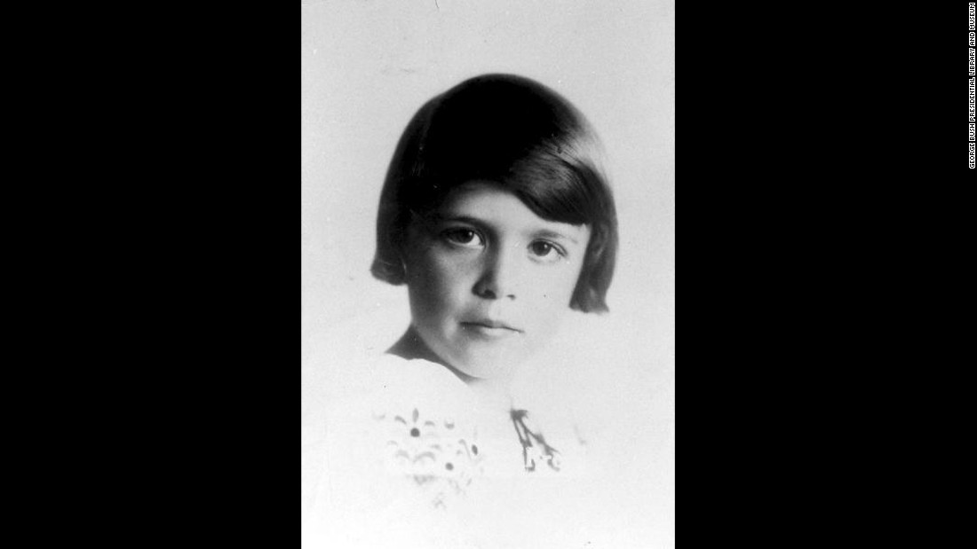 Bush is pictured at age 7, circa 1932. She was born Barbara Pierce on June 8, 1925.