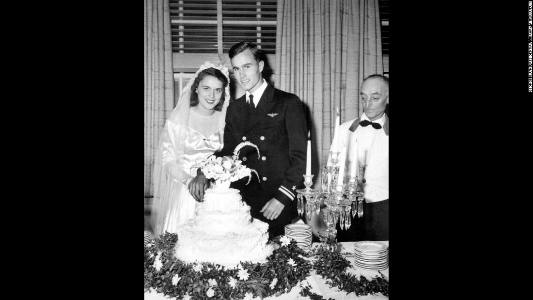 Bush and her husband are pictured on their wedding day in Rye, New York. The two married on January 6, 1945.