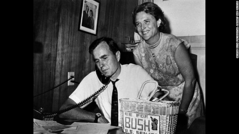 George and Barbara Bush in 1964.