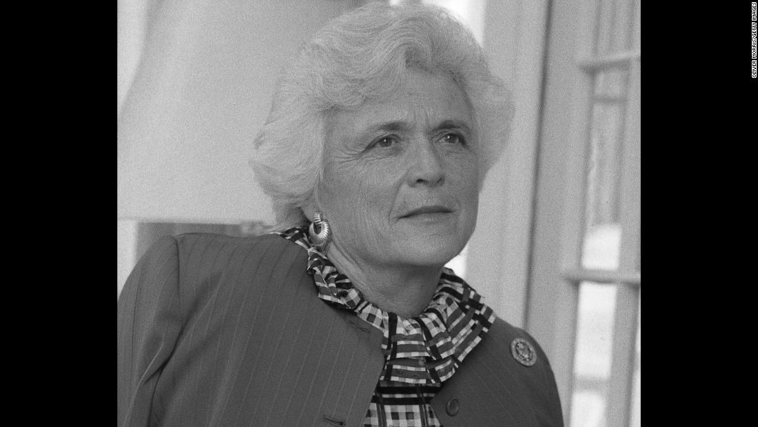 A portrait of Barbara Bush at the vice presidential residence on April 24, 1981. Her husband was sworn in as vice president of the United States in 1981.