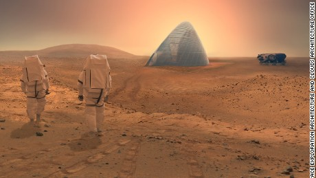"The Space Exploration Architecture and Clouds Architecture Office took home first prize for their ""ice House"" design in NASA's 2015 3D-Printed Habitat Challenge."