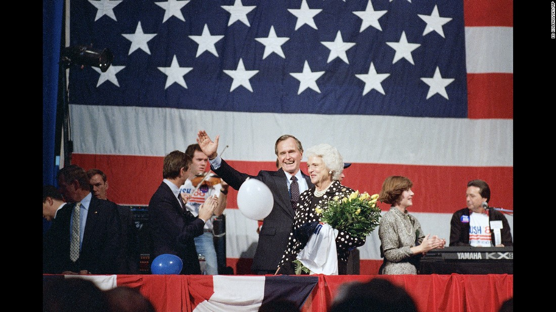 Bush and her husband meet supporters in Houston on October 12, 1987. On that day, Bush declared his candidacy for the presidency.