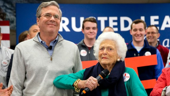 Bush jokes with her son Jeb while introducing him at a town hall in Derry, New Hampshire, on February 4, 2016. He was a Republican presidential candidate during the 2016 election.