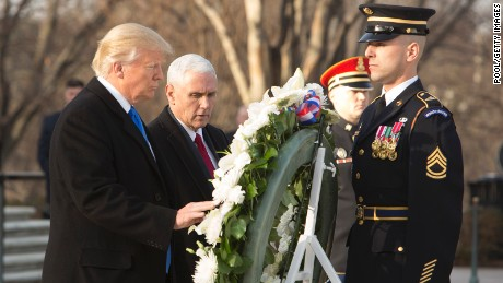 President-elect Donald J. Trump and Vice President-elect Mike Pence participate in a wreath laying ceremony at Arlington National Cemetery on January 19, 2017 in Arlington, Virginia.