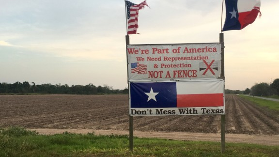 Pamela Taylor, 88, who has lived in Brownsville, Texas on the United States-Mexico border since 1947, put this sign up down the road from her house during the 2016 Presidential election.