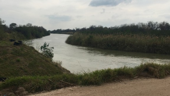 The Rio Grande forms a border between Texas and Mexico. Much of the river straddles remote desert and farmland, such as this stretch in Progreso Lakes, Texas.