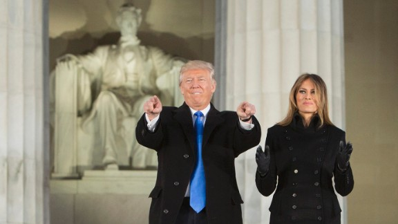 As President-elect, Trump and wife Melania arrive for the inaugural concert at the Lincoln Memorial in January 19, 2017 in Washington, DC.